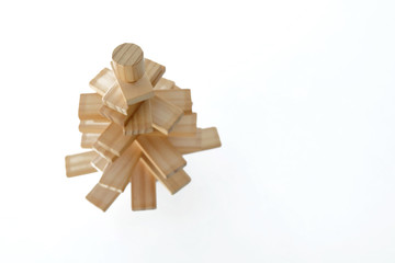 Wood toy in tree shape top view
