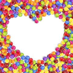 Frame of love colored candies