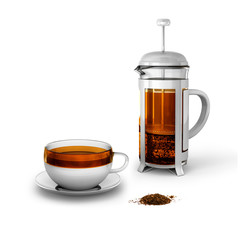 Black tea with cup and french press