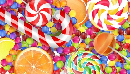 Sweets background with a pile candy