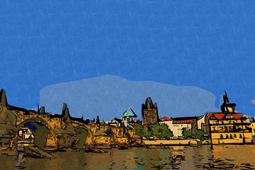 Prague art design illustration