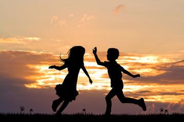 happy children at sunset