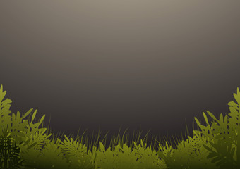 Grass and trees on dark green background