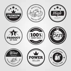 High quality vintage wax seals labels, badges and logos vector set