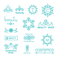 Wall Mural - Beauty shop cosmetic industry linear vector icons and badges set