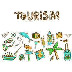 Hand drawn doodle set with summer holiday icon. Tourism vector background. Banner or poster, travel template