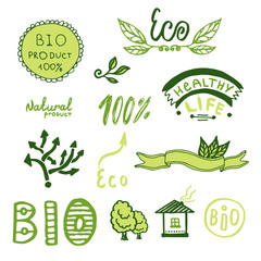 Badges, label, logo set. Green ribbons, plants elements. Organic, bio, ecology design template.