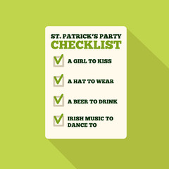 Flat Style Icon with Long Shadow. A checklist for St. Patrick's day
