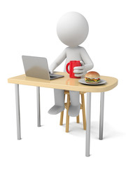 The 3D guy eats breakfast while he is working