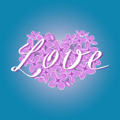 Vector blooming lilac heart with romantic Love text on gradient blue background. Fresh, spring romantic design for greeting, wedding, birthday card