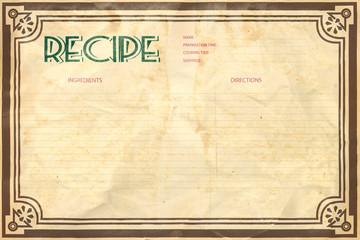 Old crumpled grunge retro recipe card layout