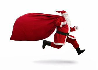 Santa Claus running to delivery christmas gifts isolated on white