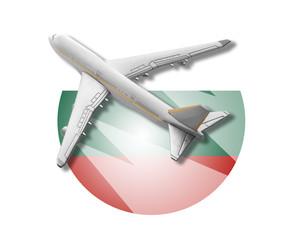 Plane and Bulgaria flag.