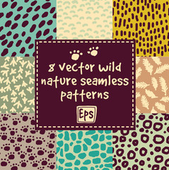 Wild nature seamless patterns set.