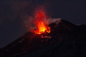 Volcano eruption. Mount Etna erupting from the crater Southeast