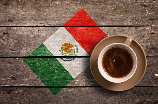 Mexico flag with coffee