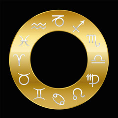 Zodiac signs silver on golden ring. Vector illustration on black background.
