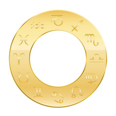 Zodiac signs - golden circle of astrology. Isolated vector illustration on white background.