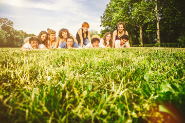 Group of Friends on the Grass at the Park