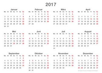 Jahresplaner 2017, einfache