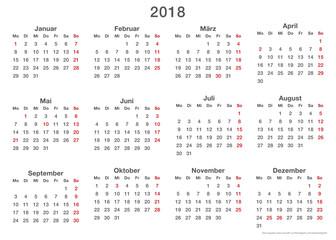 Jahresplaner 2018, einfache Vorlage Querformat auch für die Visitenkarte (85x55 mm) geeignet!