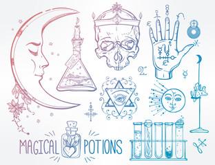 Set of trendy vector Alchemy symbols