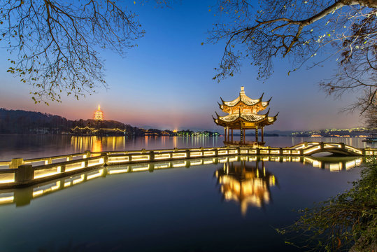 beautiful hangzhou in twilight and ancient pavilion