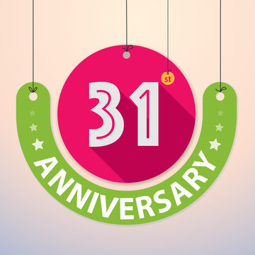 31st Anniversary - Colorful Badge, Paper cut-out