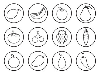 Fruits line art