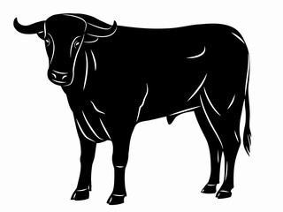 silhouette bull, vector illustration
