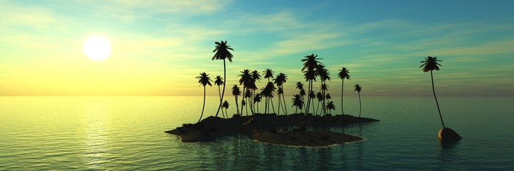 panorama of sea sunset. island and coconut palms