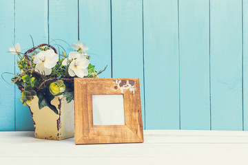 Home decor on wooden background