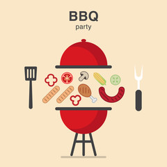 BBQ Illustration with products and tools for cooking dinner
