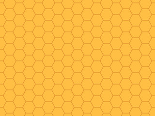 Grid seamless pattern. Hexagonal cell texture. Yellow honeycomb background. Speaker grille. Fashion geometric design. Graphic style for wallpaper, wrapping, fabric, apparel, print production. Vector