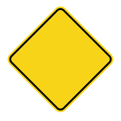 Blank Yellow Sign. Empty square warning symbol isolated on white background. Priority road icon. Traffic sign. Stock Vector Illustration