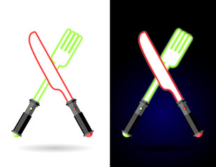 Lightsaber as cutlery. Shiny knife and fork . Accessories for fo