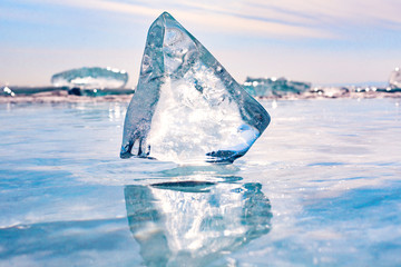 A large piece of ice on the Lake Baikal.