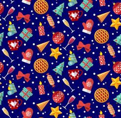 Cute christmas seamless pattern. Flat designed style