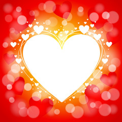 Valentines Day background. Heart on red shining background