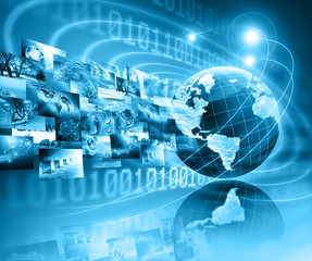 Fototapete - Best Internet Concept of global business. Globe, glowing lines on technological background. Electronics, Wi-Fi, rays, symbols Internet, television, mobile and satellite communications