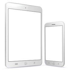 White Tablet and Smartphone