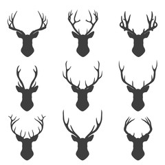 Set of deer silhouettes
