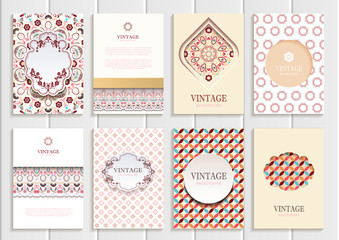 Stock vector set of brochures in vintage style