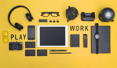 Creative black office supplies hero header on yellow background