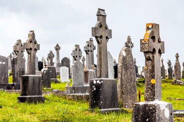 Cemetary and Irish crosses on an overcast day,  Connemara, Galway, Ireland