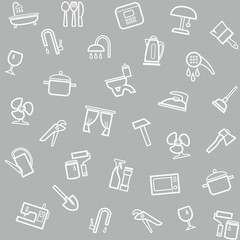 Household goods, home, background, seamless, gray.