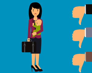 A young woman with a small child can not find work. Vector illustration