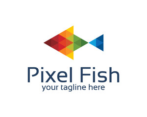 Pixel fish logo design with triangle style. Abstract colorful pixel fish symbol vector.