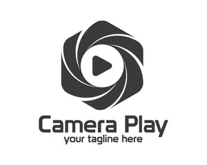 Flat camera photography logo design. Simple clean photo logo vector
