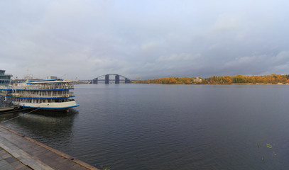 Passenger ship at the pier and a panoramic view of the Dnieper.
